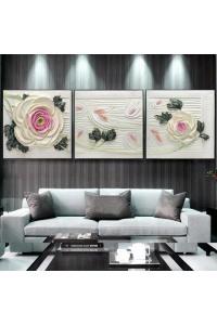 Tranh treo tường bộ 3 Hoa hồng 3D