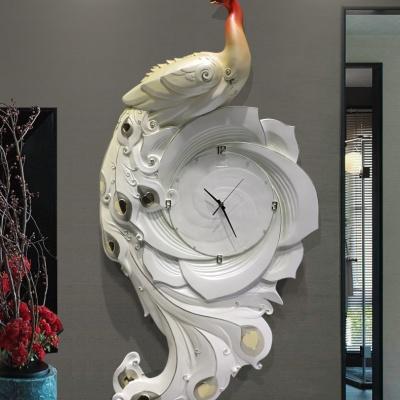 Tranh đồng hồ khổng tước xanh - đỏ
