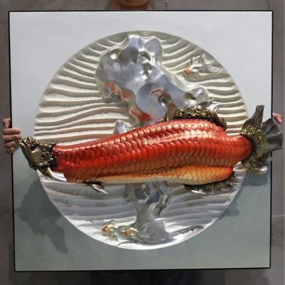 Tranh treo tường cá rồng huyết long 3D