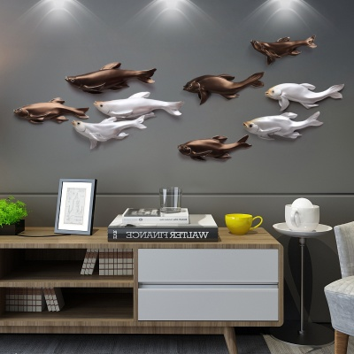 Tranh họa tiết treo tường cửu ngư quần hội 3D