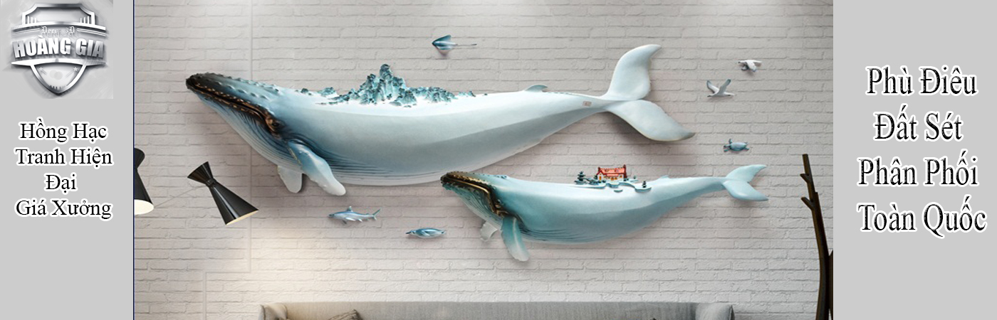 Phù điêu nổi cá heo