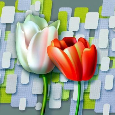 Tranh gạch 3D hoa H64