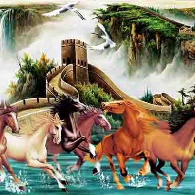 Tranh gạch 3D mã đáo vạn lý ngựa
