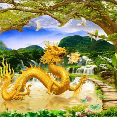 tranh gạch 3d rồng bay xuống núi
