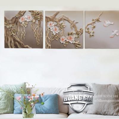 Tranh treo tường phù điêu 3D gốc hoa mẫu đơn