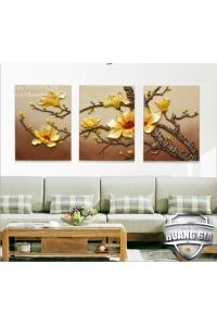 Tranh Phù điêu nổi composite Hoa mai vàng 3D