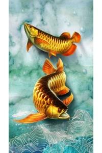 tranh gạch 3d cá chép một cc07