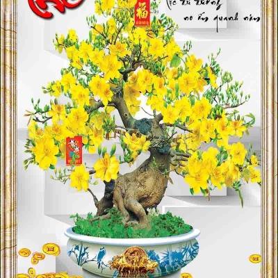 Tranh gạch 3D cây mai vàng chữ phúc 10