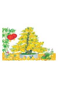 Tranh gạch 3D cây mai vàng 06