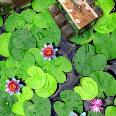 Sàn nhà 3D hoa lá sen