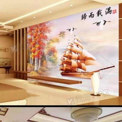 Tranh gạch 3D thuận buồm xuôi gió 27 - tranh gạch 3D phòng khách