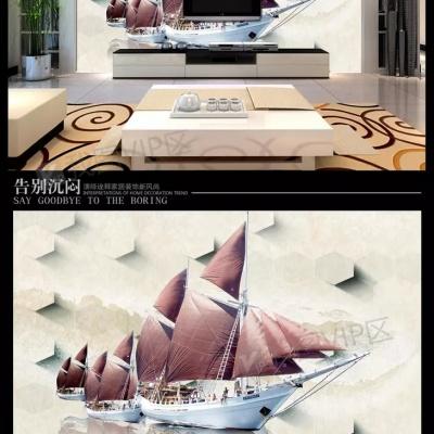 Tranh gạch 3D thuận buồm xuôi gió 32 - tranh gạch 3D phòng khách