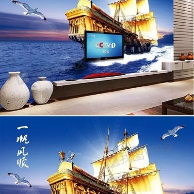 Tranh gạch 3D thuận buồm xuôi gió 34 - tranh gạch 3D phòng khách