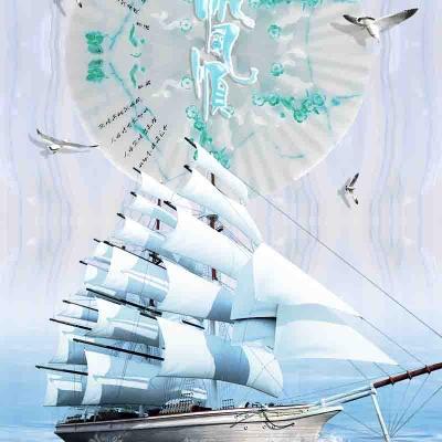 Tranh gạch 3D thuận buồm xuôi gió 43 - tranh gạch 3D phòng khách