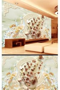 Tranh gạch 3D con công cc175