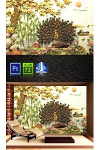 Tranh gạch 3D con công cc259