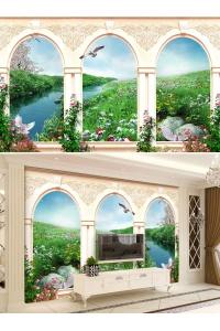 tranh gạch 3d phòng khách đẹp pk22