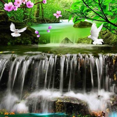 tranh gạch 3d thác nước đứng 178