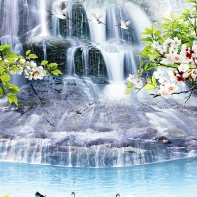 tranh gạch 3d thác nước đứng 181