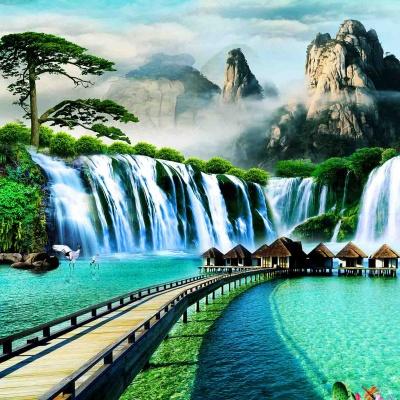 tranh gạch 3d thác nước đứng 182