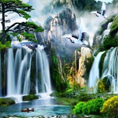 tranh gạch 3d thác nước đứng 183