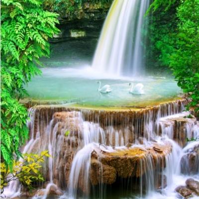 tranh gạch 3d thác nước đứng 184