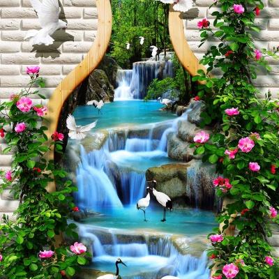 tranh gạch 3d thác nước đứng 186