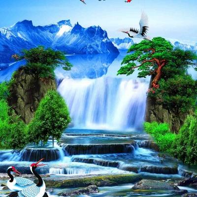 tranh gạch 3d thác nước đứng 187