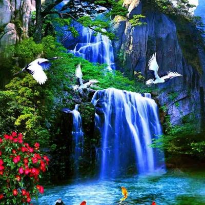 tranh gạch 3d thác nước đứng 189