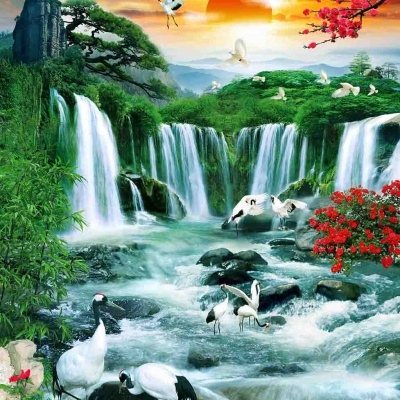 tranh gạch 3d thác nước đứng 191