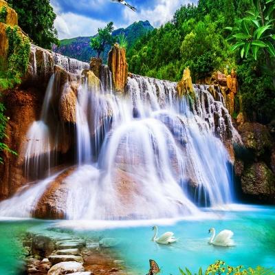 tranh gạch 3d thác nước đứng 193