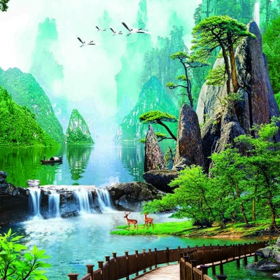 tranh gạch 3d thác nước đứng 197