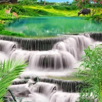 tranh gạch 3d thác nước đứng