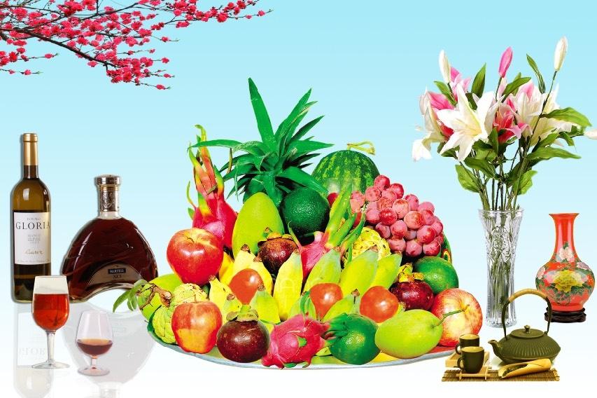 tranh gạch 3d hoa quả phòng thờ